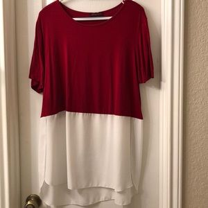 2x Split Blouse Maroon and White